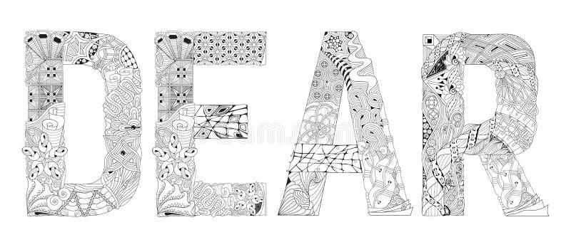 Wort LIEB für die Färbung Vektor dekorativer zentangle Gegenstand vektor abbildung