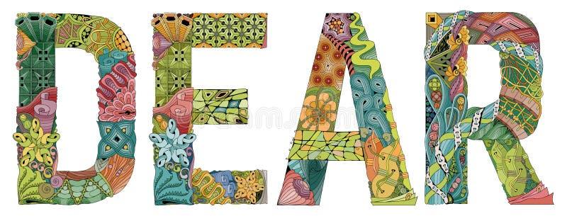 Wort lieb Vektor dekorativer zentangle Gegenstand lizenzfreie abbildung