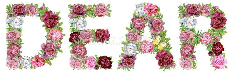 Wort LIEB von den Aquarellblumen lizenzfreie abbildung