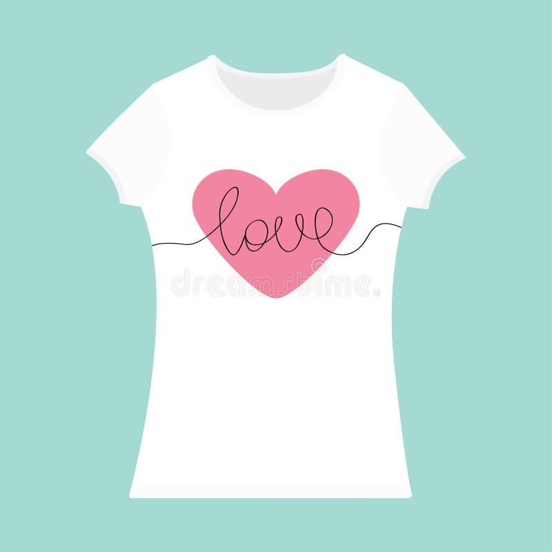 Wort-Liebesbeschriftung Rosa Herz T-Shirt Schablone Weiße Farbe ...