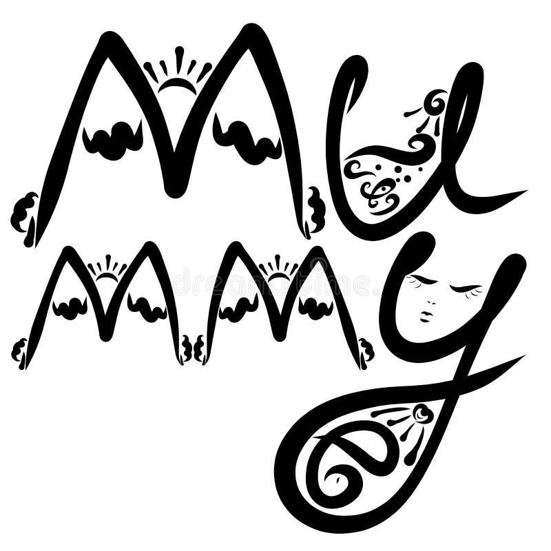 Wort-Mama mit Sonderkommandos der Natur und der schwangeren Frau lizenzfreie abbildung