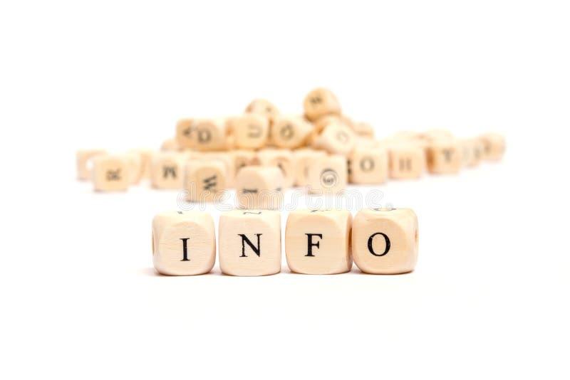 Wort mit Würfelinformationen stockbild
