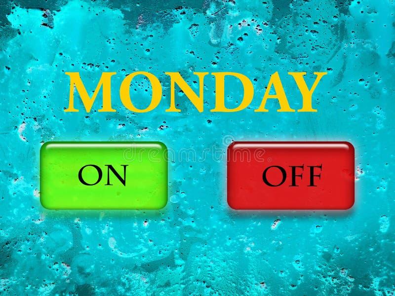 Wort Montag wird in den gelben Buchstaben auf einem strukturellen Hintergrund des Türkises sowie in einem Grün auf Knopf und in e stockfoto