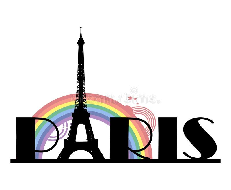 Wort Paris mit Regenbogen lizenzfreie abbildung