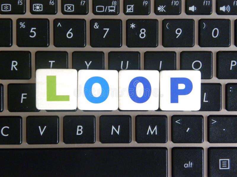 Wort-Schleife auf Tastaturhintergrund stockfoto
