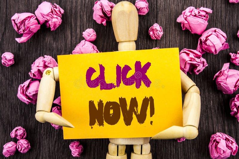 Wort, Schreiben, Text Klicken jetzt Begriffsfoto Zeichen-Buch-oder Register-Fahne für Join Apply geschrieben auf die klebrige Anm lizenzfreies stockfoto