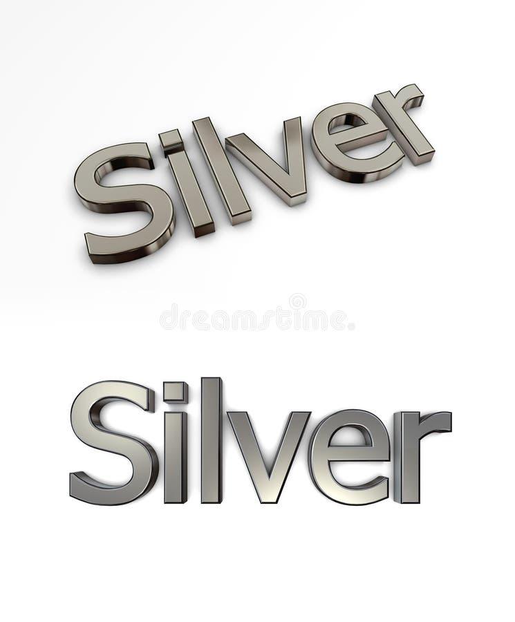Wort-Silber auf Weiß stock abbildung