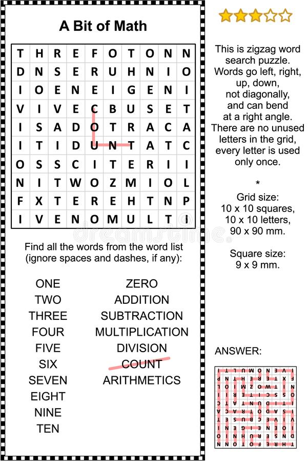 Wort-Suchpuzzlespiel grundlegenden Mathe themenorientiertes stock abbildung