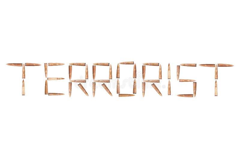 Wort TERRORIST ausgebreitet von den glänzenden Kugeln für Sturmgewehr stockbild