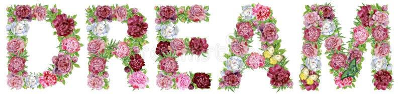 Wort TRAUM von Aquarellblumen mit Schmetterlingen stock abbildung