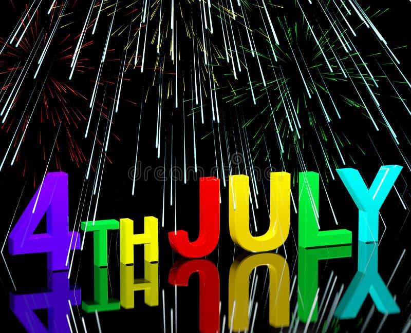 Wort und Feuerwerke Julis vierter als Symbol für Amerika und Patrioten stock abbildung