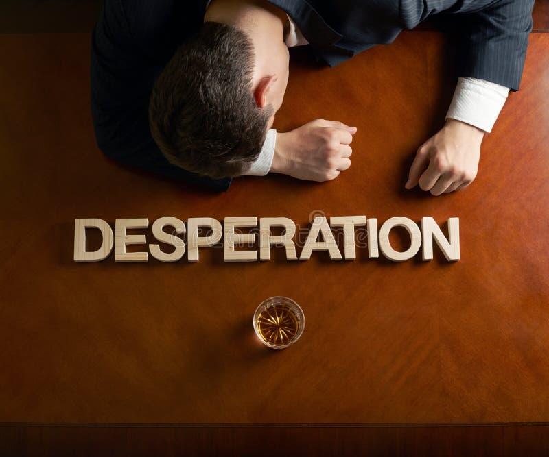 Wort-Verzweiflung und verheerende Mannzusammensetzung stockbild