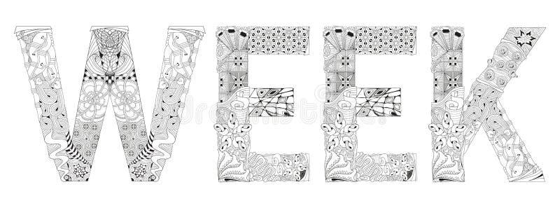 Wort WOCHE für die Färbung Vektor dekorativer zentangle Gegenstand lizenzfreie abbildung