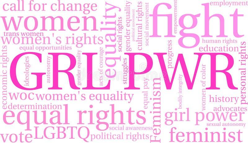 Wort-Wolke GRL PWR lizenzfreie abbildung