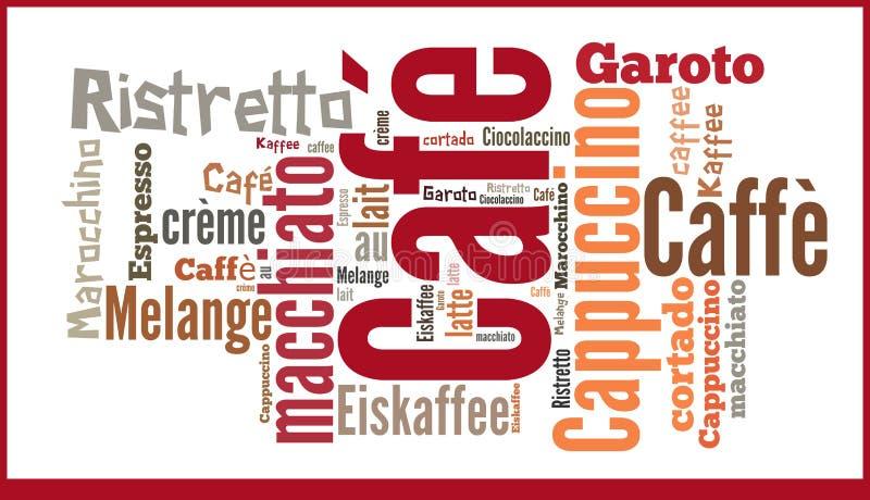 Wort-Wolke internationale seicialities des Kaffees lizenzfreie abbildung