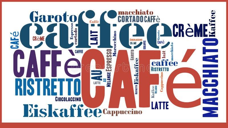Wort-Wolke internationale spicialities des Kaffees stock abbildung