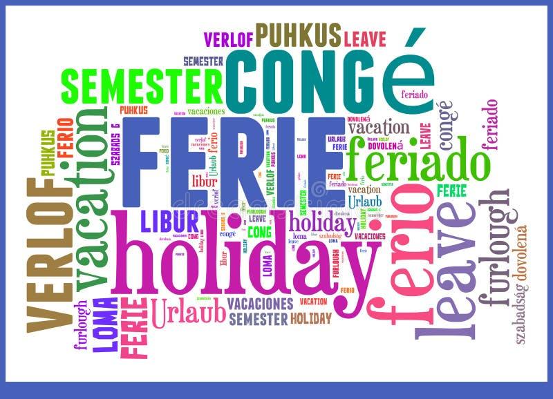 Wort-Wolken-Ferien in den verschiedenen Sprachen lizenzfreie abbildung