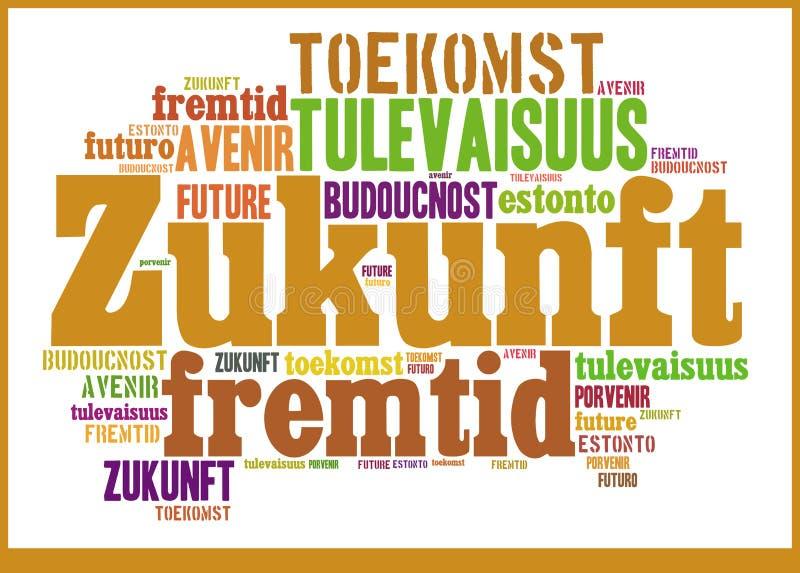 Wort-Wolken-Zukunft in den verschiedenen Sprachen stock abbildung