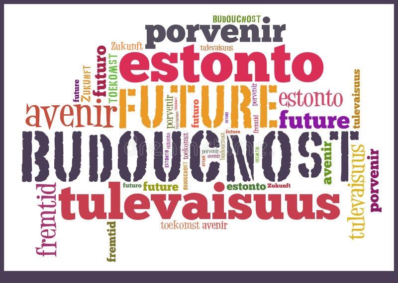 Wort-Wolken-Zukunft in den verschiedenen Sprachen lizenzfreie abbildung