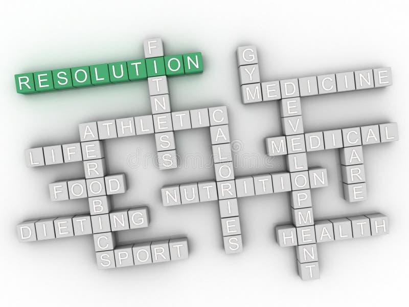 Wort-Wolkencollage der Entschließung 3d, Gesundheitskonzepthintergrund stock abbildung