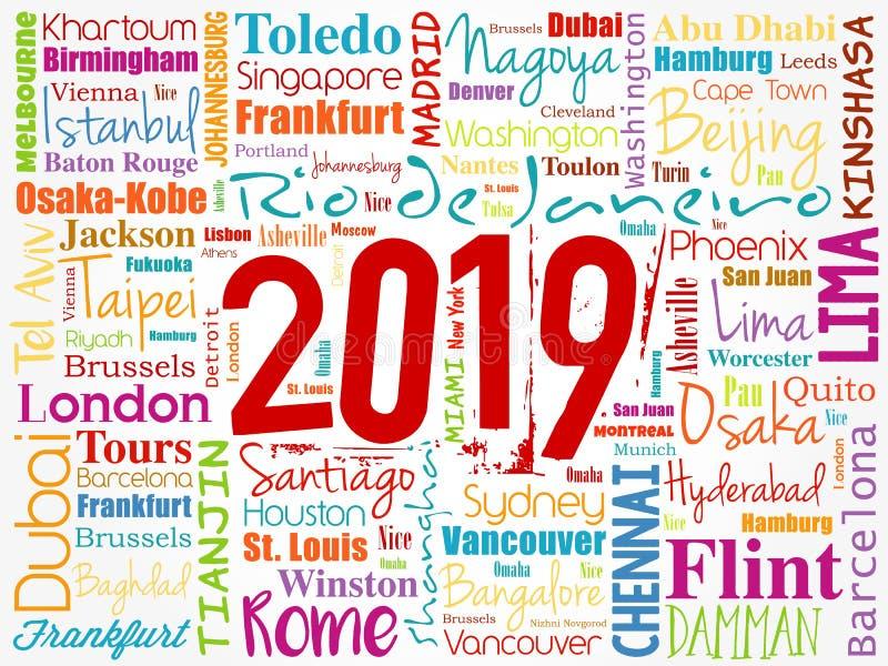 Wort-Wolkencollage mit 2019 Reisestädten stock abbildung