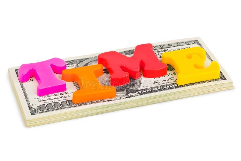 Wort-Zeit auf Geld - Geschäftskonzept stockfoto