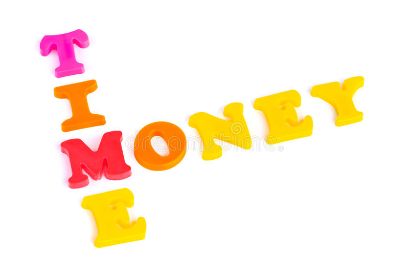 Wort-Zeit und Geld - Geschäftskonzept stockfoto