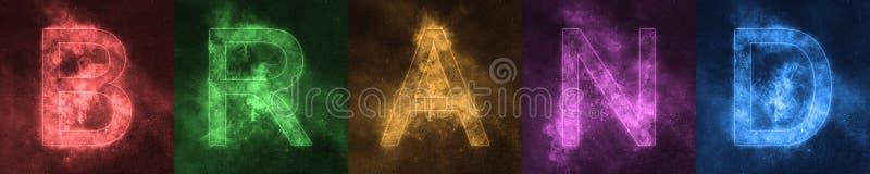 Wortbeschriftung MARKE Raum-stilisierte bunte Buchstaben MARKE bann lizenzfreies stockfoto