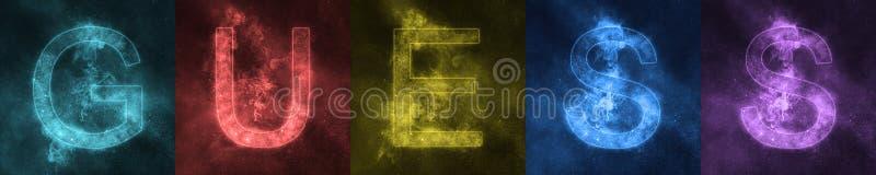 Wortbeschriftung VERMUTUNG Raum-stilisierte bunte Buchstaben vermutung stock abbildung