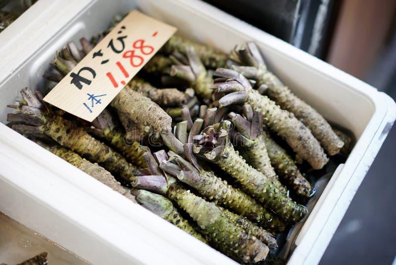 Wortel van ruwe wasabi in schuimdoos, Japanse wasabi stock fotografie