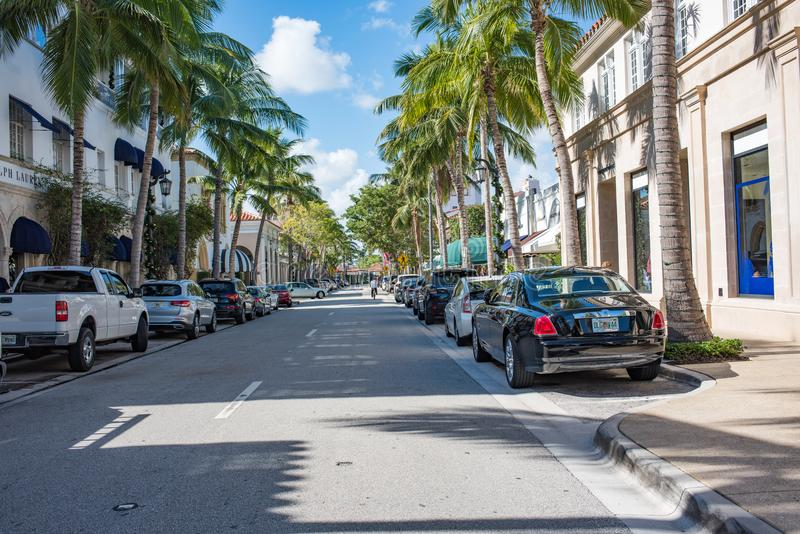 Worth Avenue in Luxurious Palm Beach, Florida stock images