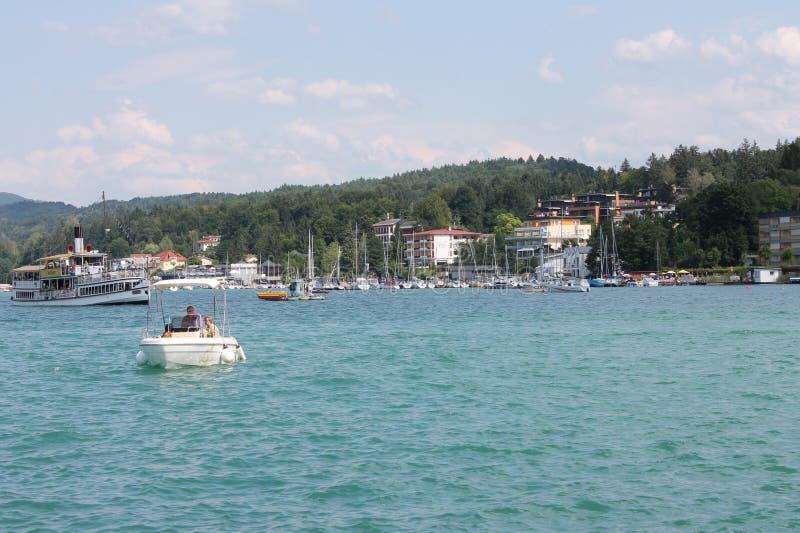 Worthersee lake. Steamship coming in velden port from Klagenfurt stock image