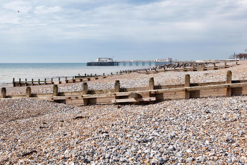 Worthing beach, West Sussex, United Kingdom. Worthing beach, West Sussex, South England, United Kingdom stock photo