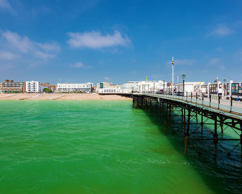 Worthing West Sussex England. The beach as seen from the Pier at Worthing West Sussex England UK Europe stock photo