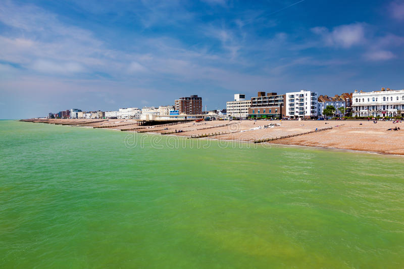 Worthing West Sussex England. The beach as seen from the Pier at Worthing West Sussex England UK Europe royalty free stock images