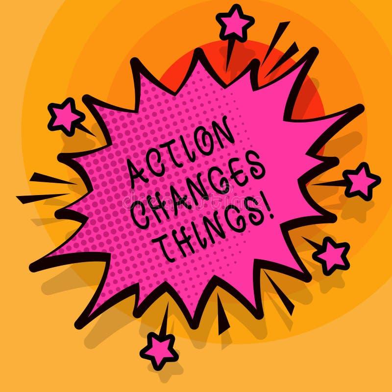 Wortschreibens-Text Aktion ändert Sachen Geschäftskonzept für, sich zu verbessern stehen nicht noch ließ s ist, es zu tun stock abbildung