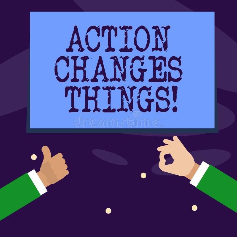 Wortschreibens-Text Aktion ändert Sachen Geschäftskonzept für das Handeln etwas ist wie Kette verbessern sich reflektiert stock abbildung