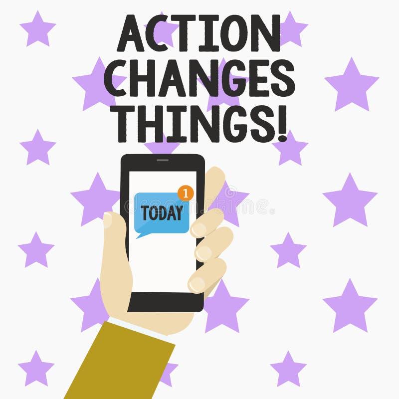 Wortschreibens-Text Aktion ändert Sachen Geschäftskonzept für das Handeln etwas ist wie Kette verbessern sich reflektiert lizenzfreie abbildung