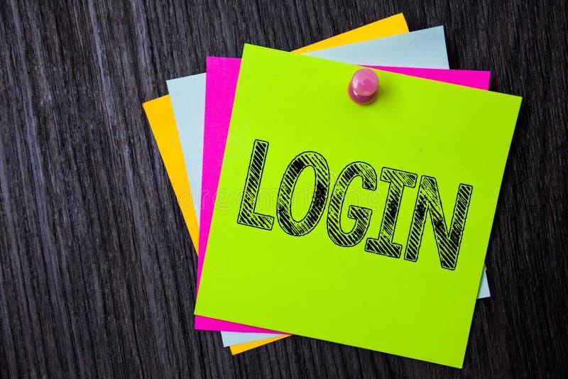 Wortschreibens-Text Anmeldung Geschäftskonzept für Tat des Teilnehmens an einer Computerdatenbank oder -system, die mehrfaches kl lizenzfreie stockfotos