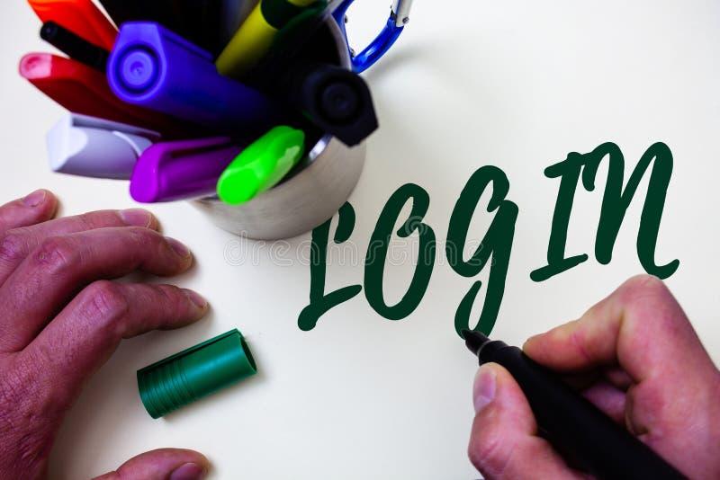 Wortschreibens-Text Anmeldung Geschäftskonzept für Tat des Teilnehmens an einer Computerdatenbank oder -system, die Sitzung Künst stockfoto