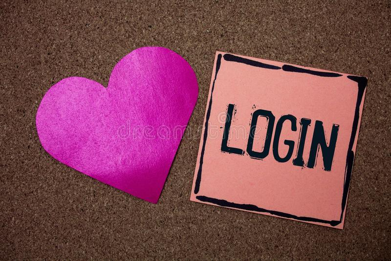 Wortschreibens-Text Anmeldung Geschäftskonzept für Tat des Teilnehmens an einer Computerdatenbank oder -system, die Sitzung Liebe lizenzfreies stockbild