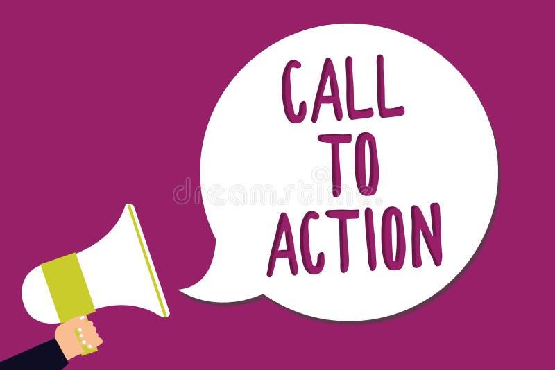 Wortschreibens-Text Aufruf zum Handeln Geschäftskonzept, damit Encourage Entscheidungs-Bewegung erfolgreichen Strategie Mann vora vektor abbildung