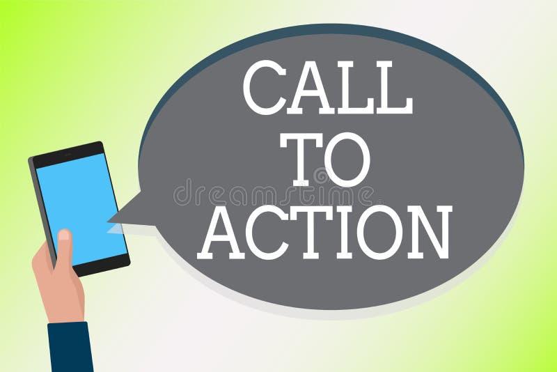 Wortschreibens-Text Aufruf zum Handeln Geschäftskonzept, damit Encourage Entscheidungs-Bewegung erfolgreiches Strategie Mann-Hold lizenzfreie abbildung