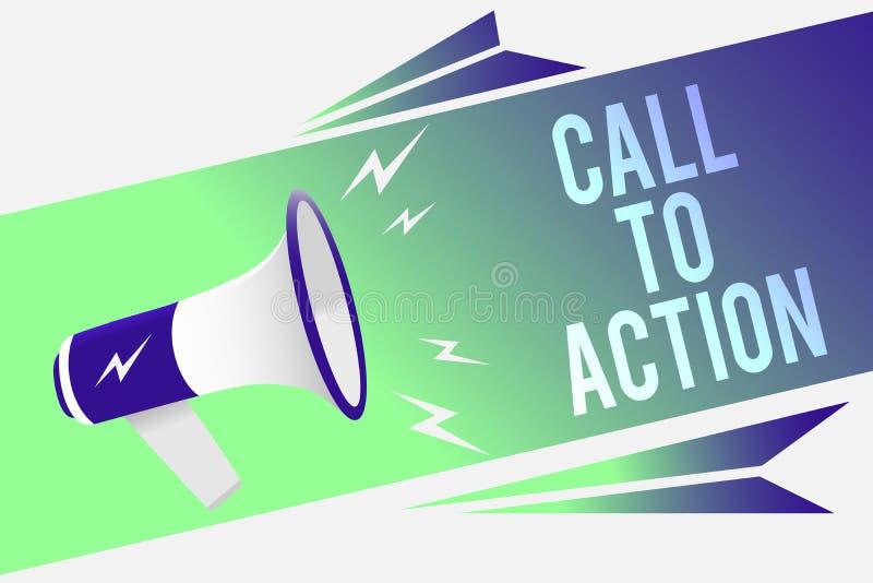 Wortschreibens-Text Aufruf zum Handeln Geschäftskonzept, damit Encourage Entscheidungs-Bewegung erfolgreiches Strategie Megaphon  vektor abbildung