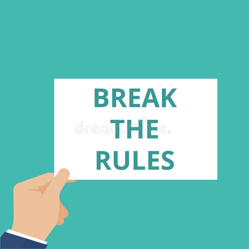 Wortschreibens-Text Bruch die Regeln stock abbildung