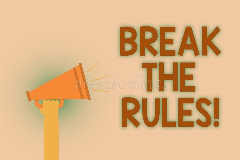 Wortschreibens-Text Bruch die Regeln Geschäftskonzept für Make Änderungen tun alles unterschiedliches Aufstands-Reform-Handbraun  lizenzfreies stockfoto
