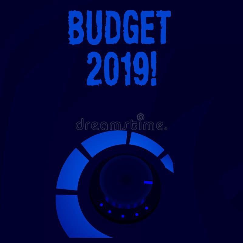 Wortschreibens-Text Budget 2019 Geschäftskonzept für Schätzung des Einkommens und der Ausgaben zum laufendes Jahr Lautstärkeregle lizenzfreie abbildung
