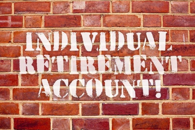 Wortschreibens-Text einzelnes Ruhestandskonto Geschäftskonzept für Invest und kennzeichnen Kapitalien für Ruhestand lizenzfreie abbildung