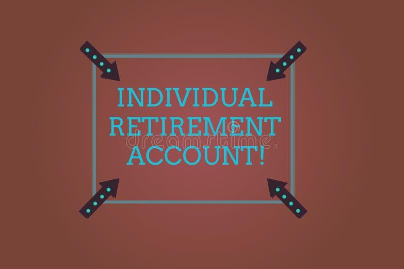 Wortschreibens-Text einzelnes Ruhestandskonto Geschäftskonzept für Invest und kennzeichnen Kapitalien für Ruhestand Quadrat lizenzfreie abbildung