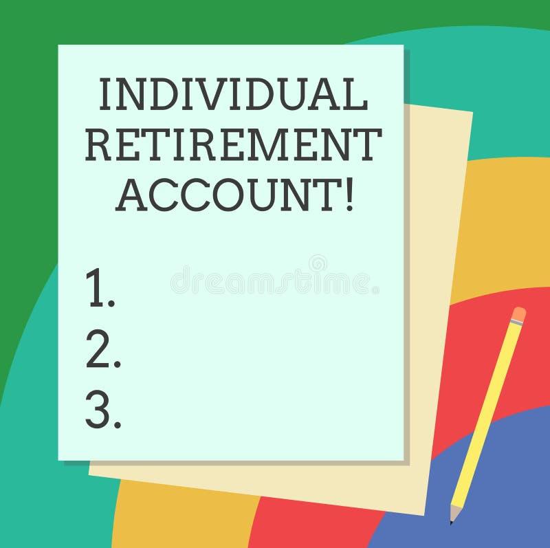 Wortschreibens-Text einzelnes Ruhestandskonto Geschäftskonzept für Invest und kennzeichnen Kapitalien für Ruhestand stapeln von stock abbildung